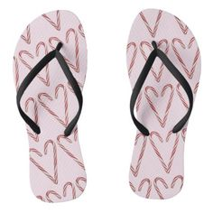 Candy Cane Hearts with Pink Background Flip Flops - Xmas ChristmasEve Christmas Eve Christmas merry xmas family kids gifts holidays Santa