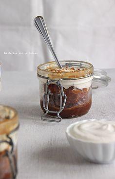 Bread & Butter pudding, sauce caramel et mousse de fromage blanc à la cannelle