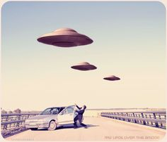 UFOs over the bridge. Oh My God!!
