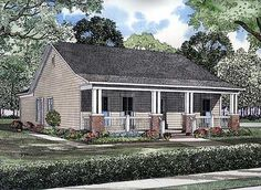 Eplans Country House Plan - I'd make that middle bedroom my sunroom. 1374 Square Feet and 3 Bedrooms from Eplans - House Plan Code Garage House Plans, Ranch House Plans, Cottage House Plans, Small House Plans, Cottage Homes, House Floor Plans, Cottage Ideas, Coastal Cottage, Coastal Homes