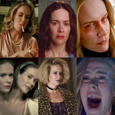 Sarah Paulson - American Horror Story 1. Billie Dean Howard 2. Lana Winters 3. Cordelia Foxx 4. Bette & Dot Tattler 5. Hypodermic Sally 6. Shelby Miller American Horror Story 3, Drama, Film Serie, Anthology Series, Horror Show, Horror Stories, Ahs, Scary, Shelby Miller
