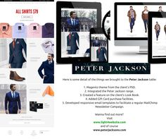 Peter Jackson, a high-end Australian based men's outfitter that dates back to the late 1940s and today reaches out to discerning clients who are seeking a slick and stylish yet affordable wardrobe that is full of charm. We've been working together since 2013.