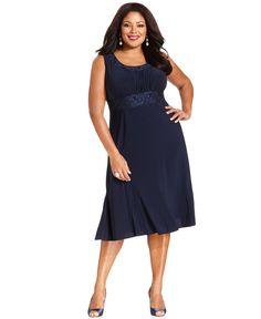 R Richards Plus Size Dress and Jacket, Sleeveless Embroidered - Plus Size Dresses - Plus Sizes - Macy's