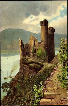 Bingen Schloss Ehrenfels uit de 13e eeuw, beschadigd tijdens de 30 jarige oorlog maar definitief verwoest door de Fransen in 1689; de ruïne kan bezocht worden