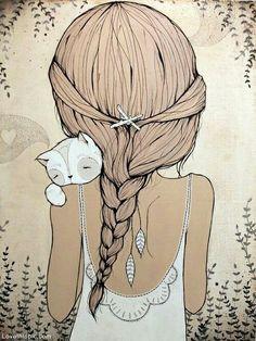 #Art #Cat #Girl #Drawing