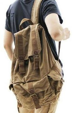 ac6ed6fc2c Heavy Duty Brown Canvas Classic Backpack for Work