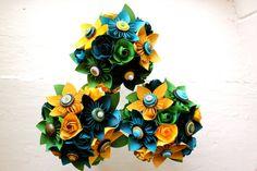Paper Flower Bouquet, 3 Bridesmaid Bouquets, Wedding, Blue, Green, Yellow, Kusudama, Rose