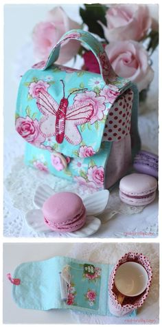 ~ Sweet little bag ~ Free Pattern + Instruction - Sew Chic Butterfly Mug Bag by Bronwyn Hayes of Red Brolly ~ <3