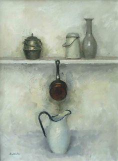 "Charles Hardaker RBA NEAC ""Still Life - Five Objects"" Oil  72x56cm  £1,500  www.mallgalleries.org.uk"