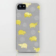 Happy Safari Hippo - Yellow iPhone & iPod Case by Kangarui By Rui Stalph - $35.00