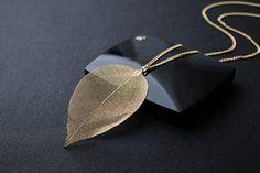 US $2.54 New Arrival Unique Golden True Leaves Necklace Fashion Brand Maxi Long Pendant & Necklace aliexpress.com