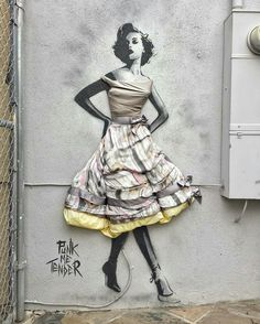 Street Art by Punk Me Tender, located in Santa Monica, CA. Dress made from real silk, inspired by Christian Dior's designs from the early 1950s