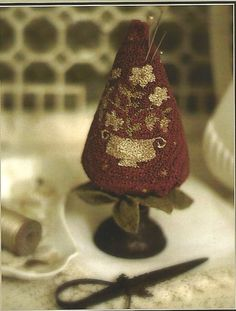 Punchneedle PinKeep Pattern: BERRIES and CREAM -- Weavers Cloth Included  The designer used an an old singer oil can for the pinkeep base.