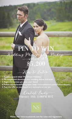 "1. Create a board titled ""My Dream Wedding""   2. Pin images that showcase your wedding theme and style!   3. Repin this contest pin onto your board   4. Follow Nicole Sarah Photography (http://www.pinterest.com/nicolesarahcom/)  5. Post the URL to your board as a comment on our pin (so we know how to find your entry!**  #pintowin #sweepstakes #photographycontest #weddingphotography #weddingcontest #dreamwedding #weddingsweeps #pinittowinit #mydreamwedding  #wedding #contest #sweeps #win"