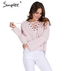 #aliexpress, #fashion, #outfit, #apparel, #shoes #aliexpress, #Simplee, #Flare, #sleeve, #knitted, #sweater, #women, #pullover, #jumpers, #Casual, #loose, #split, #knitwear, #outwear