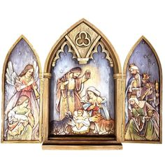 Nativity Triptych with Holy Family Wise Men Shepherd and Angel made of resin measures 11 and 1 quarter by 7 by 1 and 1 quarter inches Coloring Sheets, Coloring Pages, Wood Arch, Holy Family, Christmas Clipart, Paper Models, Triptych, Little Books, Yard Art
