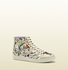 brooklyn flora leather high-top sneaker #Gucci #Shoes