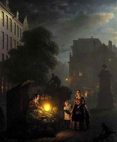 Classical Street Paintings By Petrus Van Schendel - 121Clicks.com - note little girl's smock.
