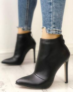 Solid Pointed Toe Zipper Back Ankle Boots #womensfashion  #Dresses  #womendress #Discount #ootdclothes  # #ANKLE-BOOTS