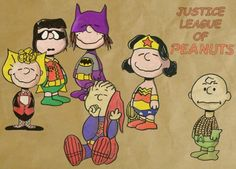 Justice League of Peanuts. Hilarious that Charlie Brown has to be lame-ass Aquaman.