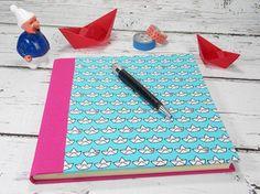 handgefertigtes Gästebuch, Türkis mit Papierbooten