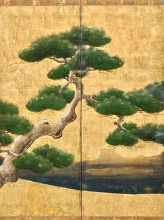 Detail. Pheasants and pine trees byobu. One of a pair. 雉松木図屏風. Japan. 1650-1750 Materials: Ink and colors on paper with gold leaf. Kano school. Asian Art Museum