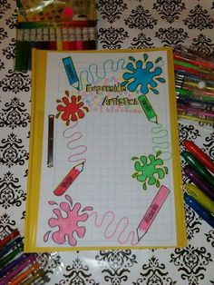 Carátulas web File Decoration Ideas, Page Decoration, Page Borders Design, Border Design, School Notebooks, Felt Owls, Decorate Notebook, Borders For Paper, My Notebook