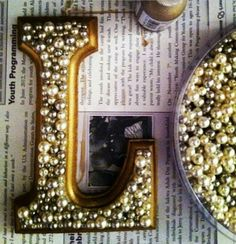 Glue pearls to wooden letters