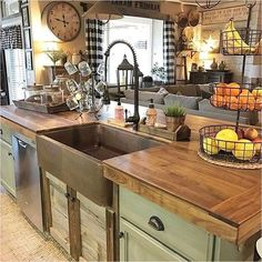 If you are looking for Modern Rustic Farmhouse Kitchen Decor Ideas, You come to the right place. Here are the Modern Rustic Farmhouse Kitchen D. Country Kitchen Farmhouse, Country Kitchen Designs, Rustic Kitchen Design, Modern Farmhouse Kitchens, Home Kitchens, Farmhouse Small, Farmhouse Ideas, Country Sink, Small Rustic Kitchens