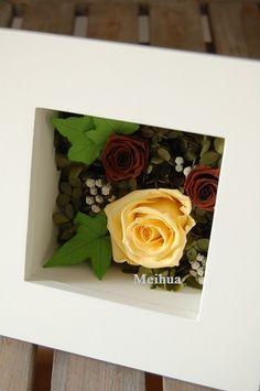 イエローとブラウンのバラに、フィリカをあしらって。 http://www.meihua-f.com/shop/mpri/pri200.html