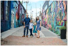 A new LiLo family joins the ranks and their brightly colored urban session in Denver's RiNo Art District was perfection! Check out the Sundahl family! Fall Family Portraits, Family Portrait Poses, Family Picture Poses, Family Photo Outfits, Family Pics, Picture Ideas, Urban Family Pictures, Boy Maternity Photos, Urban Family Photography
