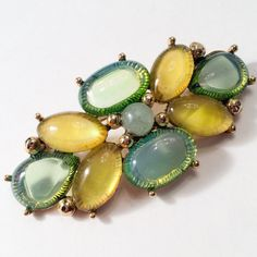 SALE 1930's vintage MONET Jelly Belly Cabochon Brooch. Early Monet, Green/ Yellow, Gold Tone Rare.