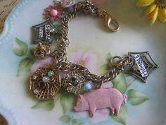 Wilburvintage assemblage jewelry charm bracelet by originalnoell, $34.00
