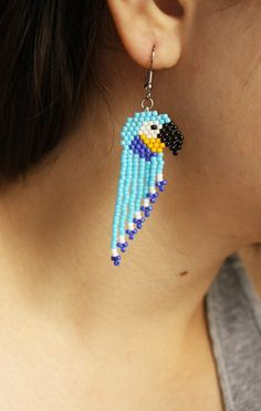 The place to buy and sell all handmade - Bird earrings bird rockery pearl earrings Seed Bead Jewelry, Seed Bead Earrings, Diy Earrings, Earrings Handmade, Beaded Jewelry, Seed Beads, Hoop Earrings, Beaded Earrings Native, Beaded Earrings Patterns