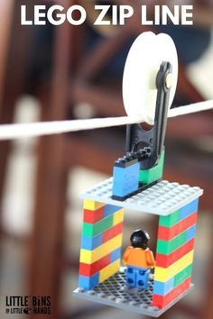 A cool LEGO zip line activity for kids and a great STEM challenge. Perfect boredom buster, screen free activity, or rainy day play. This LEGO zip line is also a great physics lesson on angles, friction, motion, and force plus uses a simple machine, the pulley.