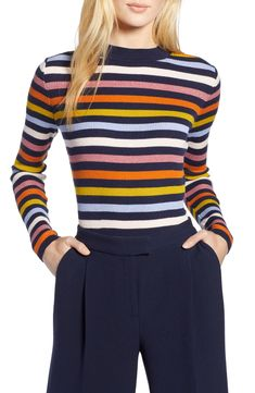 2bbb7e011be37c Free shipping and returns on Halogen® x Atlantic-Pacific Shimmer Stripe  Sweater at Nordstrom