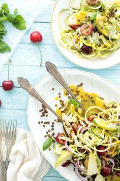 Vegan Spiralized Zucchini, Cherry and Lentil Salad