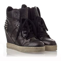 Ash Billie Womens Wedge  Sneaker Black Leather  330253 (001)