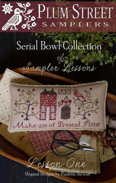 "Serial Bowl Collection Sampler Lesson One is the title of this cross stitch pattern that is a kit containing the pattern, fibers and trim - you supply the fabric. The designer is releasing this pattern as part of her Serial Bowl Collection that you finish as pinkeeps and display in a bowl or however you wish. She has tagged this ""BYOF"" in that you bring your own fabric to each design. The model is stitched on 36 Ct Olde Towne Blend from R&R. The fibers are included and from Classic…"