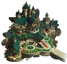 ArtStation - Castle of elf, hee uk Jung Fantasy Town, Fantasy Castle, Fantasy House, Fantasy Map, Fantasy Places, Fantasy Kunst, Fantasy World, Prop Design, Game Design