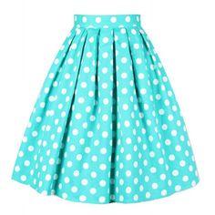 Vintage Summery Polka Dot Print High Waist A-Line Design Women's Dress