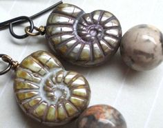 Fossil Harmony Ammonite earrings Nautilus glass by karmelidesigns, $16.00