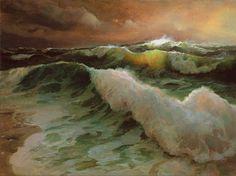 P.A.Nisbet 'Surf at Salvo' 1995, Oil on canvas    Peter Allen Nisbet [American painter, b.1949]