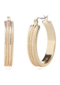 Napier  Gold-Tone Medium Hoop Earrings