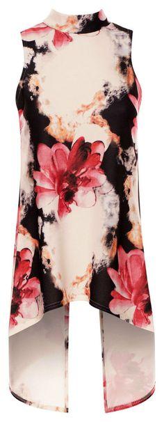 Ex Wallis 8-18 Floral Print Light Pink Satin Button Detail Blouse Top
