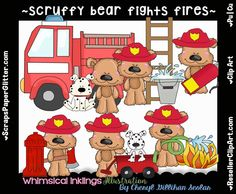 Scruffy Bear Fights Fires Clip Art - Commercial Use, Digital Image, Clipart - Instant Download - Occupation, Service, Fireman, Firefighter by ResellerClipArt on Etsy