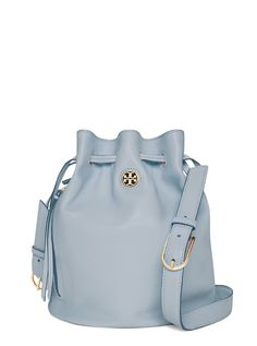 Tory Burch Brody Bucket Bag. The luxury of understatement: tasseled zipper pulls and minimal detailing in soft pebbled leather