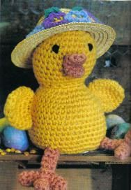 free crochet Easter Bonnet Chick Pattern