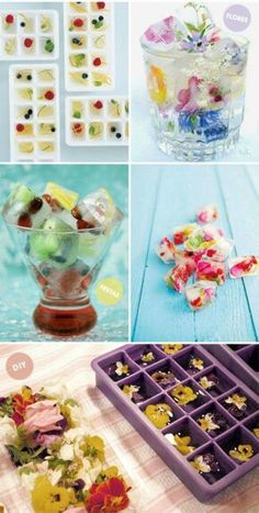 Ice cubes with flower petals