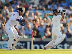 Sachin Tendulkar steers one through the off side, England v India, 4th Test, The Oval, 4th day, August 21, 2011 200th.in